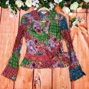 Vtg. Floral & Paisley Ruffle Wrap Blouse Top 1564